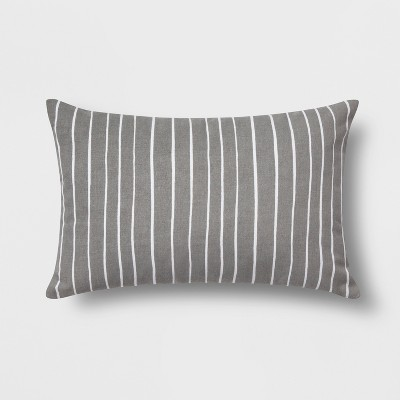 Reversible Stripe Lumbar Throw Pillow Gray/White - Room Essentials™