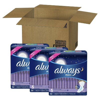 Always Maxi Extra Heavy Overnight Pads - Unscented - Size 5 - 108ct
