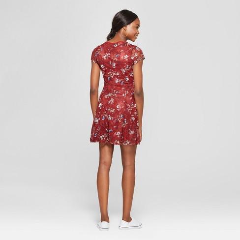 93574ed7ba5c Women s Floral Print Lattice Front Lace Dress - Lot   Target
