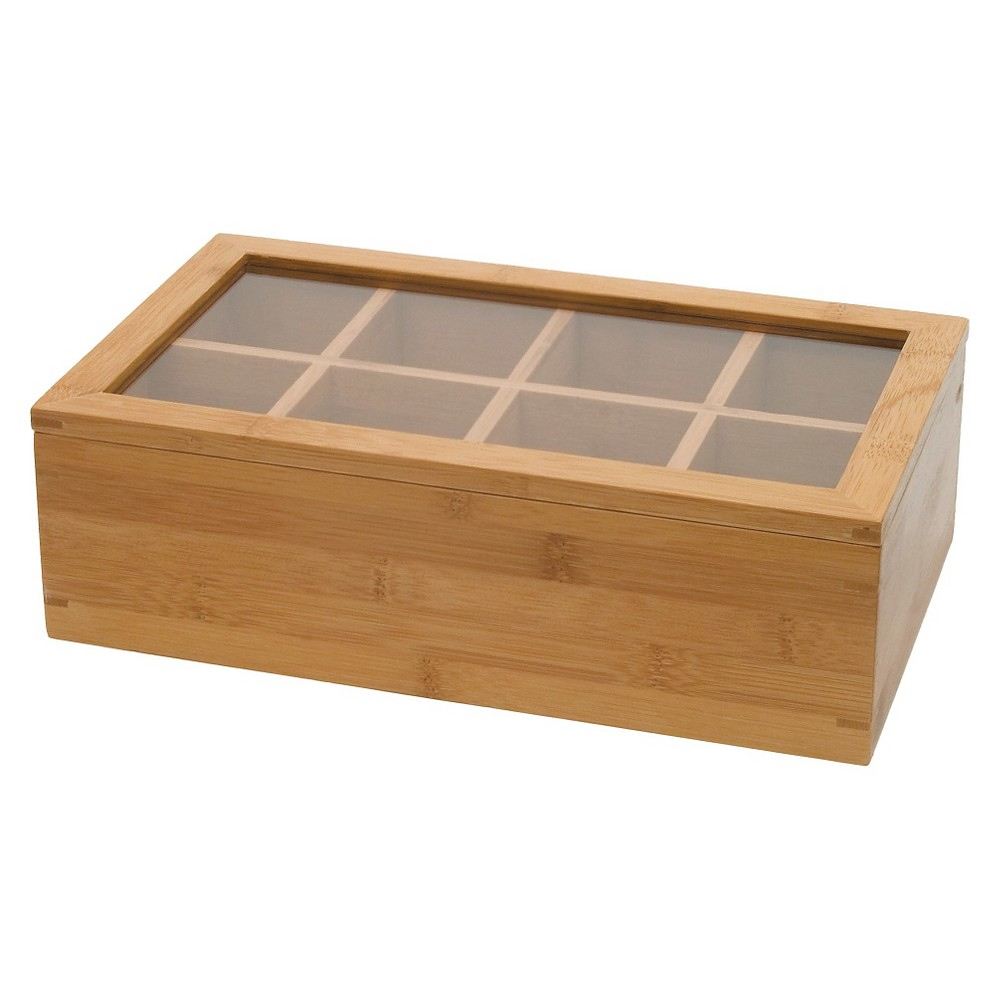 Lipper International Bamboo 8-Compartment Tea Box with Acrylic and Bamboo Lid, Brown