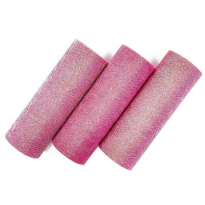 "Bright Creations 3 Pack Pink Rainbow Glitter Tulle Fabric Rolls for Sewing, 6"" x 10 Yards"