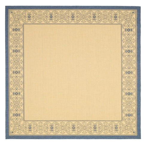 Antibes 7 10 Quot X7 10 Quot Border Outdoor Rug Natural Blue