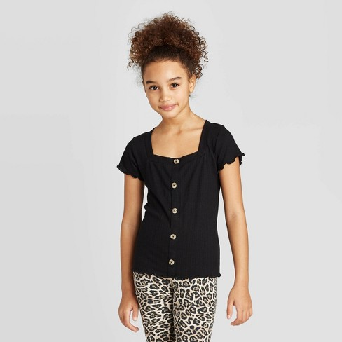 Girls' Lettuce Edge Square Neck Button-Front Short Sleeve Top - art class™ - image 1 of 3