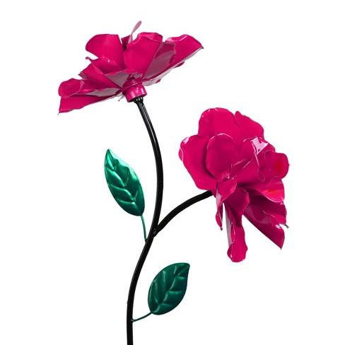 "38.75"" Metal Double Spinning Rose Garden Stake Pink - Exhart - image 1 of 2"