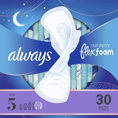 Always Infinity FlexFoam Pads for Women - Extra Heavy Overnight Absorbency - Unscented - Size 5 - 30ct