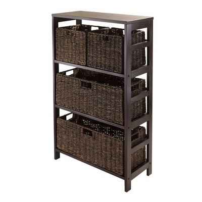 5pc Granville Storage Set with 3 Tier Shelf and Baskets Espresso Brown - Winsome