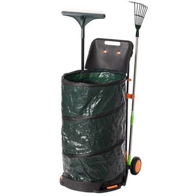 Gardenised Green Garden Leaf Collector Caddy Tool Bag Holder with Hand Scoop Collapsible Trash Can