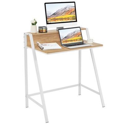 Costway 2 Tier Computer Desk PC Laptop Table Study Writing Home Office Natural