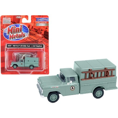 """1960 Ford F-250 Utility Truck """"Southern Bell Telephone"""" Gray 1/87 (HO) Scale Model by Classic Metal Works"""