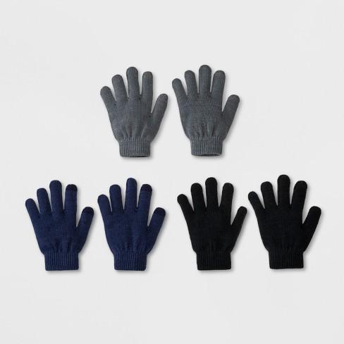 b8158dea9385 Boys  3pk Solid Magic Gloves - Cat   Jack™ Navy Gray Black One Size ...