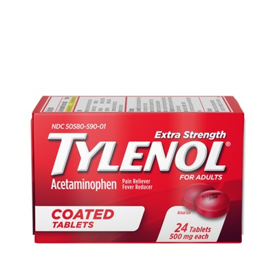 Tylenol Extra Strength Coated Tablets - Acetaminophen - 24ct