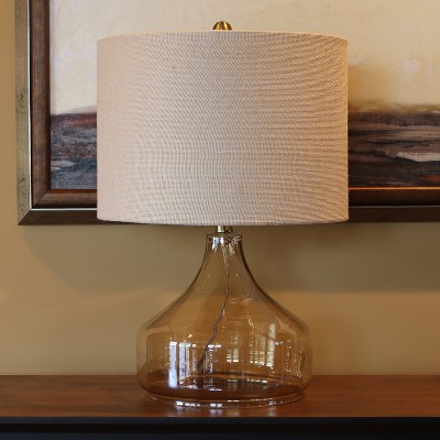 """22"""" x 14"""" Luster Glass Desk Lamp Clear - Decor Therapy"""