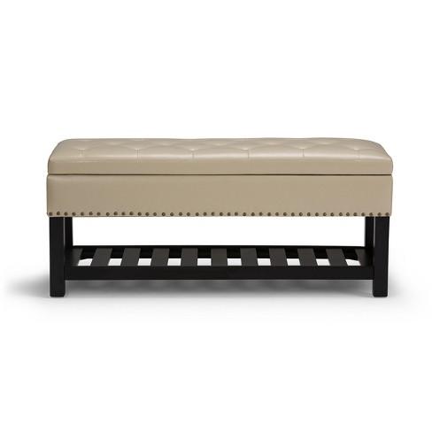 Admirable Lomond Storage Ottoman Bench Satin Cream Simpli Home Alphanode Cool Chair Designs And Ideas Alphanodeonline