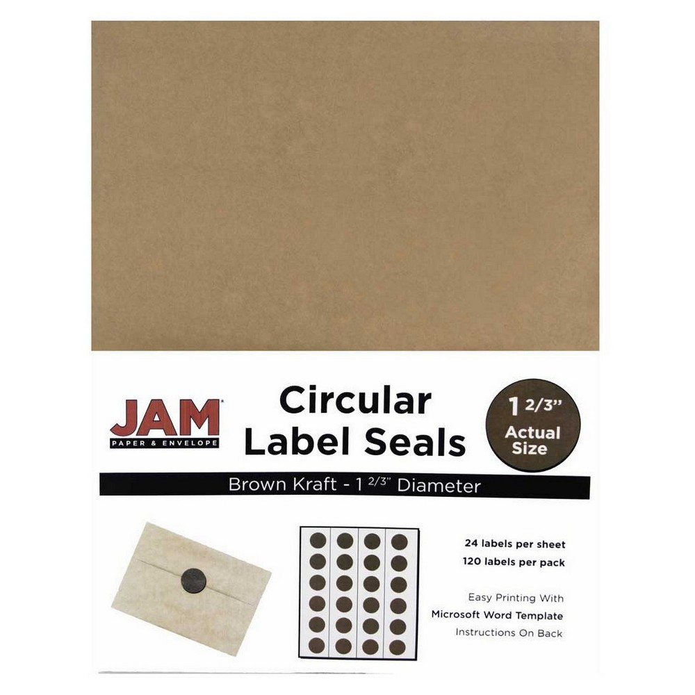 Jam Paper Circle Sticker Seals 1 2/3 120ct - Brown Jam Paper Round Circle Label Sticker Seals measure 1 2/3 inches in diameter and are sold on sheets of 24 labels. Each pack contains 5 sheets for a total of 120 labels per pack! These labels feature a light, soft, and inviting baby blue color that will give a peaceful and calm look to your mail. These labels are great for reinforcing envelopes, creating small price tags for yard sales, marking mail or items with initials, and more! Compatible with most printers, these labels can be customized in your own office or home. Additionally, they are easy to write on with most kinds of pens and markers. Try these round labels for your home or office needs. Color: Brown. Age Group: Adult.