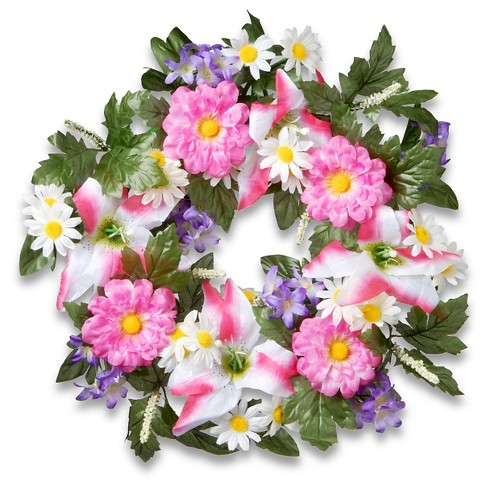 """Decorated Wreaths with Tiger Lilies and Daisies (18"""") - image 1 of 1"""