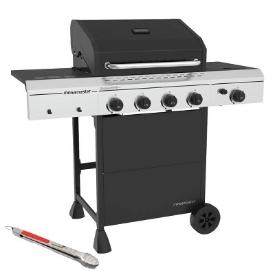 Megamaster 720-0804HTG 4 Burner Gas Grill with Stainless Steel Tong