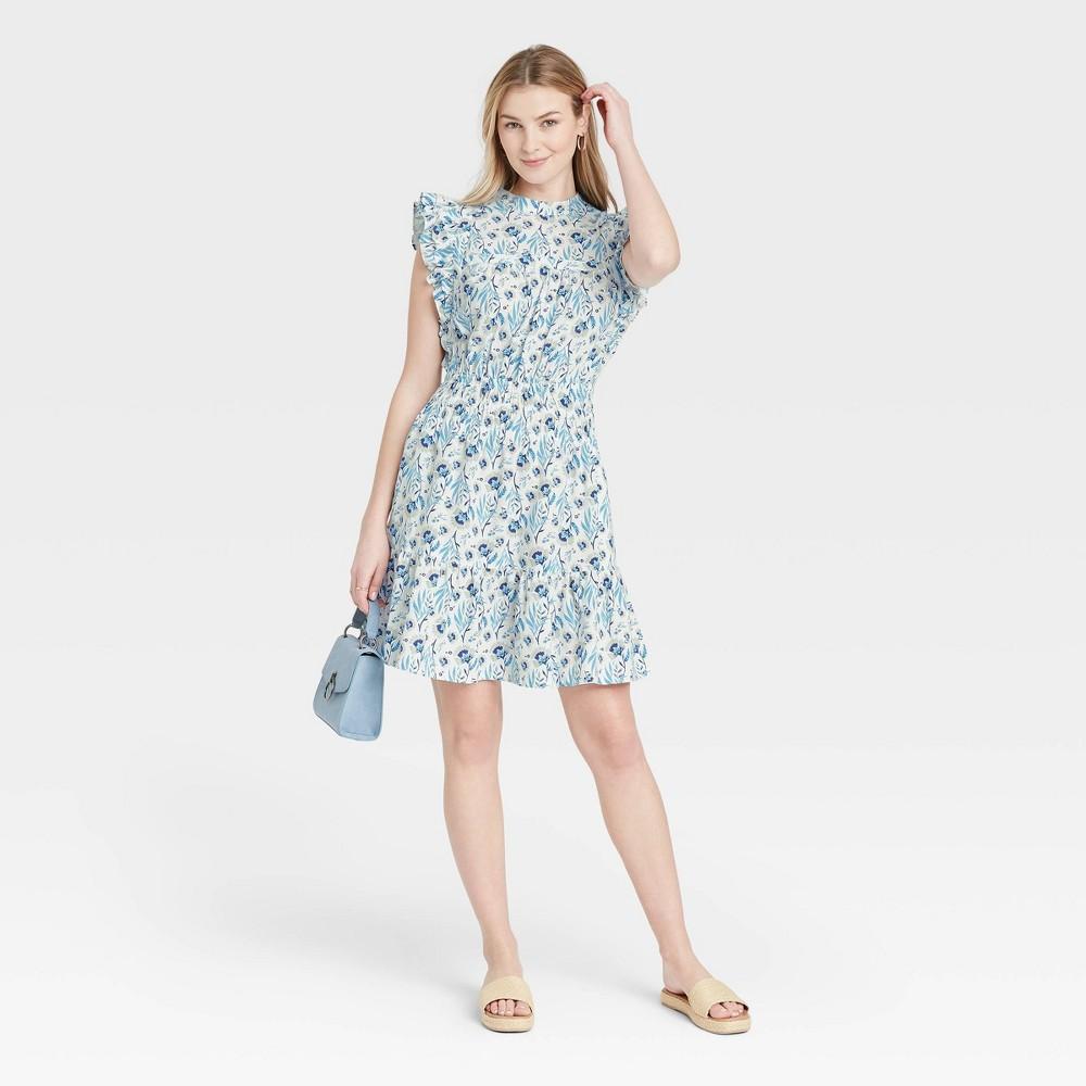 Women 39 S Floral Print Flutter Sleeveless Dress Universal Thread 8482 White Xxl