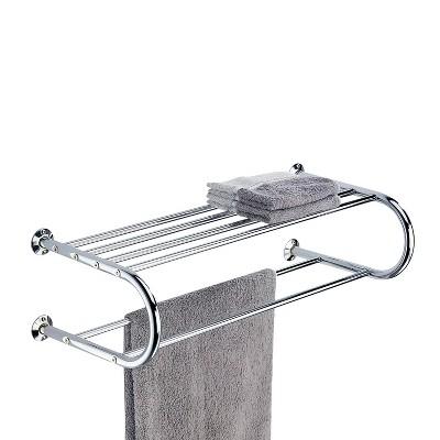 Wall Mounting Towel Bar and Shelf Chrome - Bath Bliss
