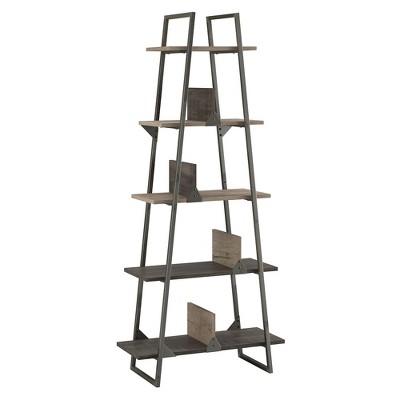 "71.85"" Refinery A Frame Bookshelf Rustic Gray - Bush Furniture"