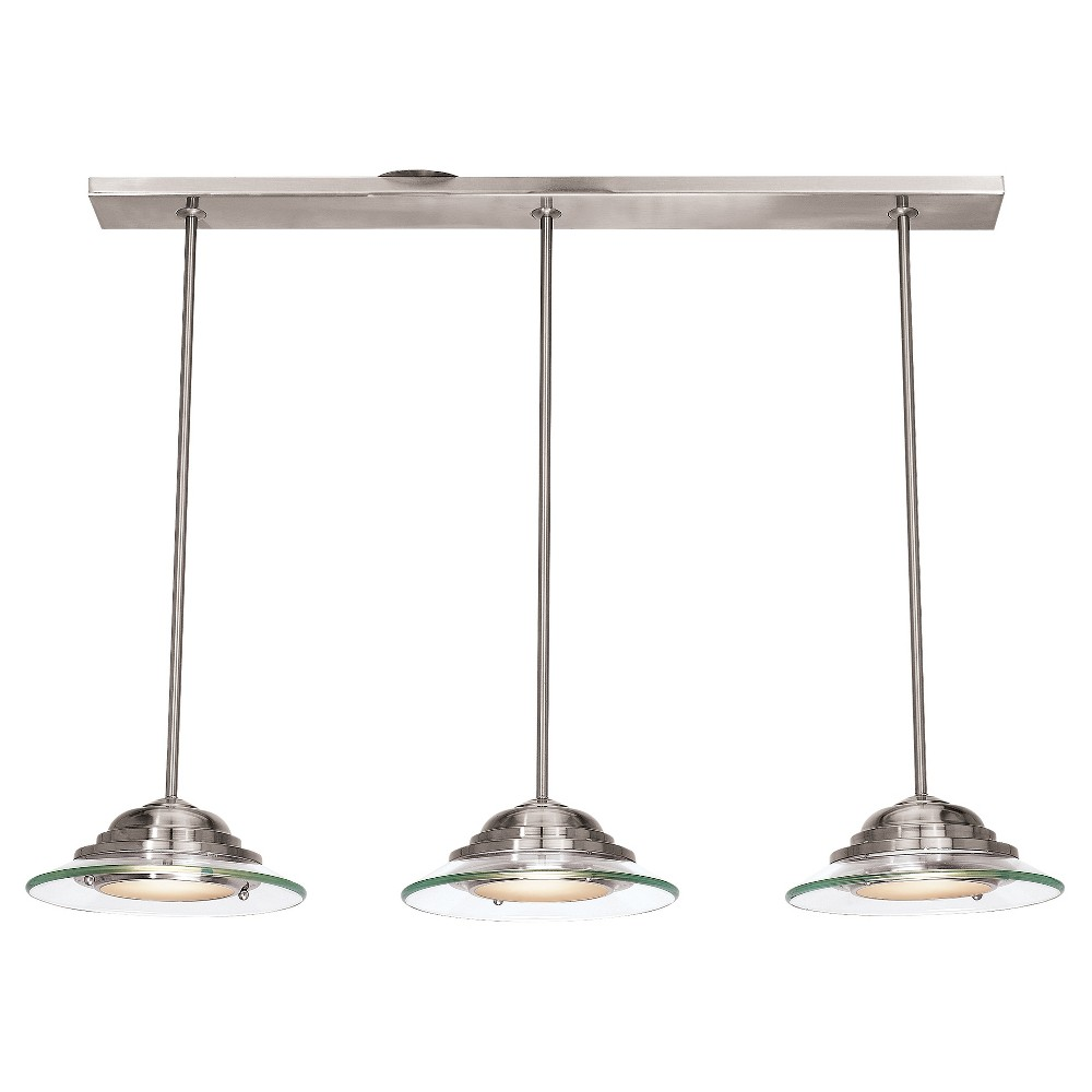Phoebe 3-Light Bar Pendant with Clear Glass Shade - Brushed Steel (Silver)