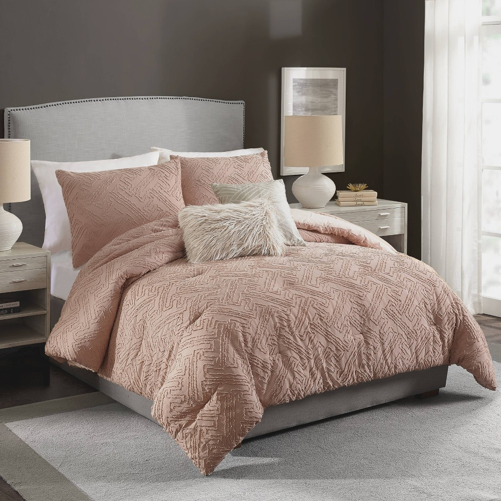 Image of Ayesha Curry Full/Queen Neo Geo Comforter & Sham Set Blush, Pink