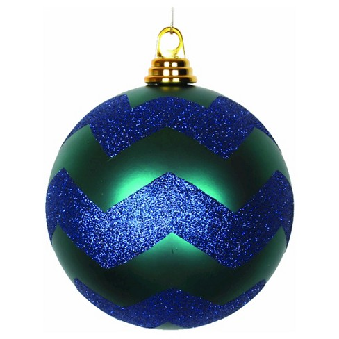 "6"" Teal/Sea Blue Matte/Glitter Chevron Ball Christmas Ornament - image 1 of 1"