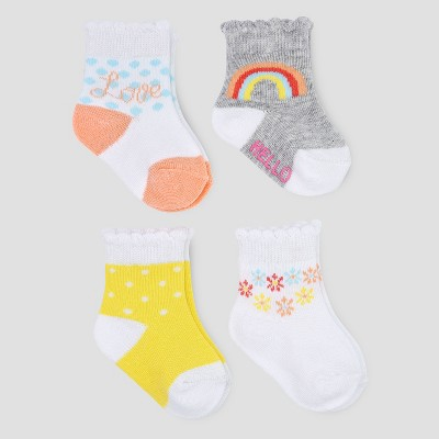 Baby Girls' 4pk Rainbow Crew Socks - Just One You® made by carter's Yellow/Gray 0-3M