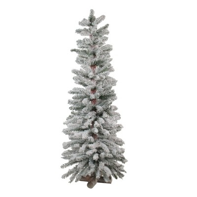Northlight 4' Unlit Artificial Christmas Tree Slim Heavily Flocked Alpine