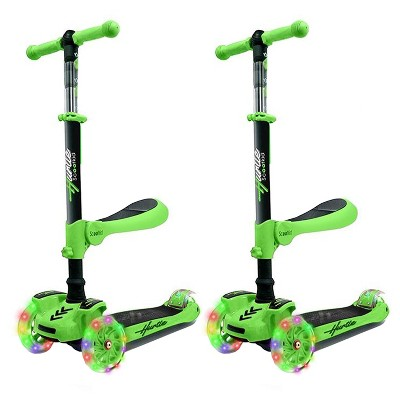 Hurtle ScootKid 3 Wheel Toddler Child Mini Ride On Toy Tricycle Scooter w/ Adjustable Handlebar, Foldable Seat, & LED Light Up Wheels, Green (2 Pack)