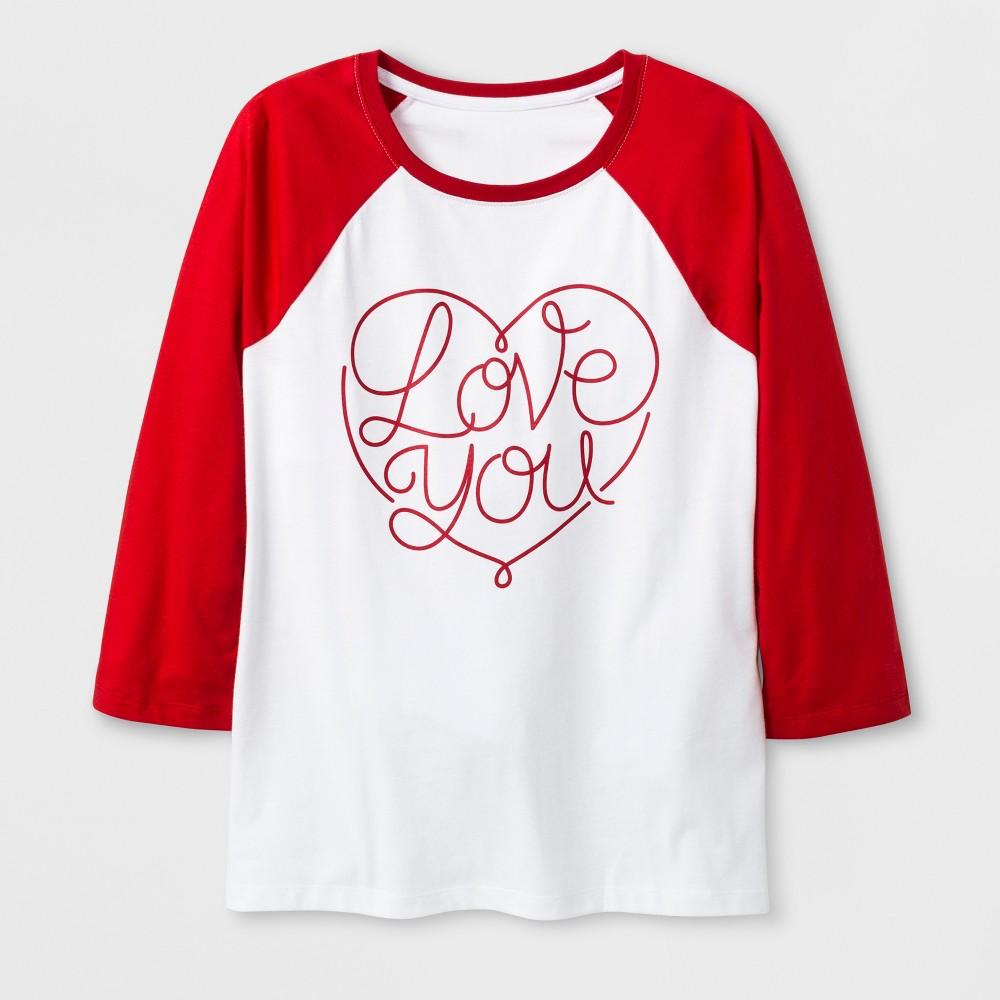 Women's 3/4 Sleeve 'Love You' Baseball T-Shirt - White L