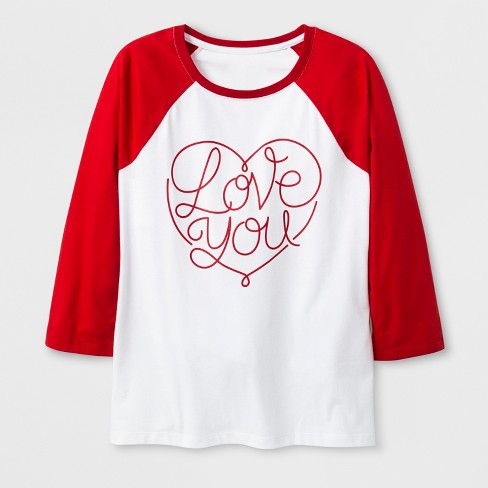 24d56d8f Women's 3/4 Sleeve 'Love You' Baseball T-Shirt - White : Target