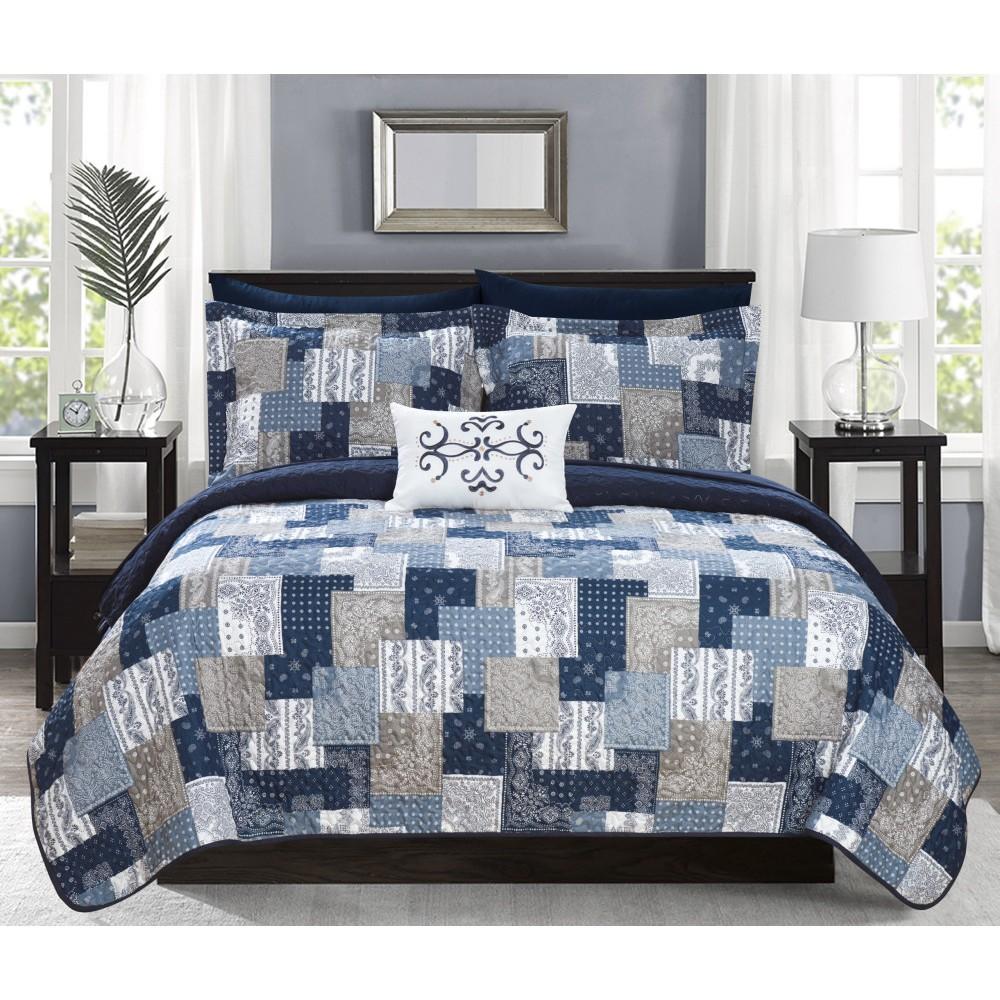 King 4pc Viona Quilt Set Blue - Chic Home Discounts