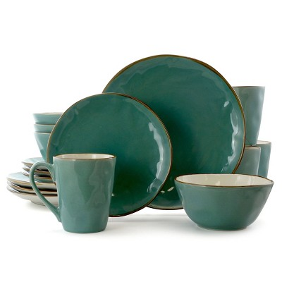 16pc Stoneware Cool Breeze Dinnerware Set Green - Elama