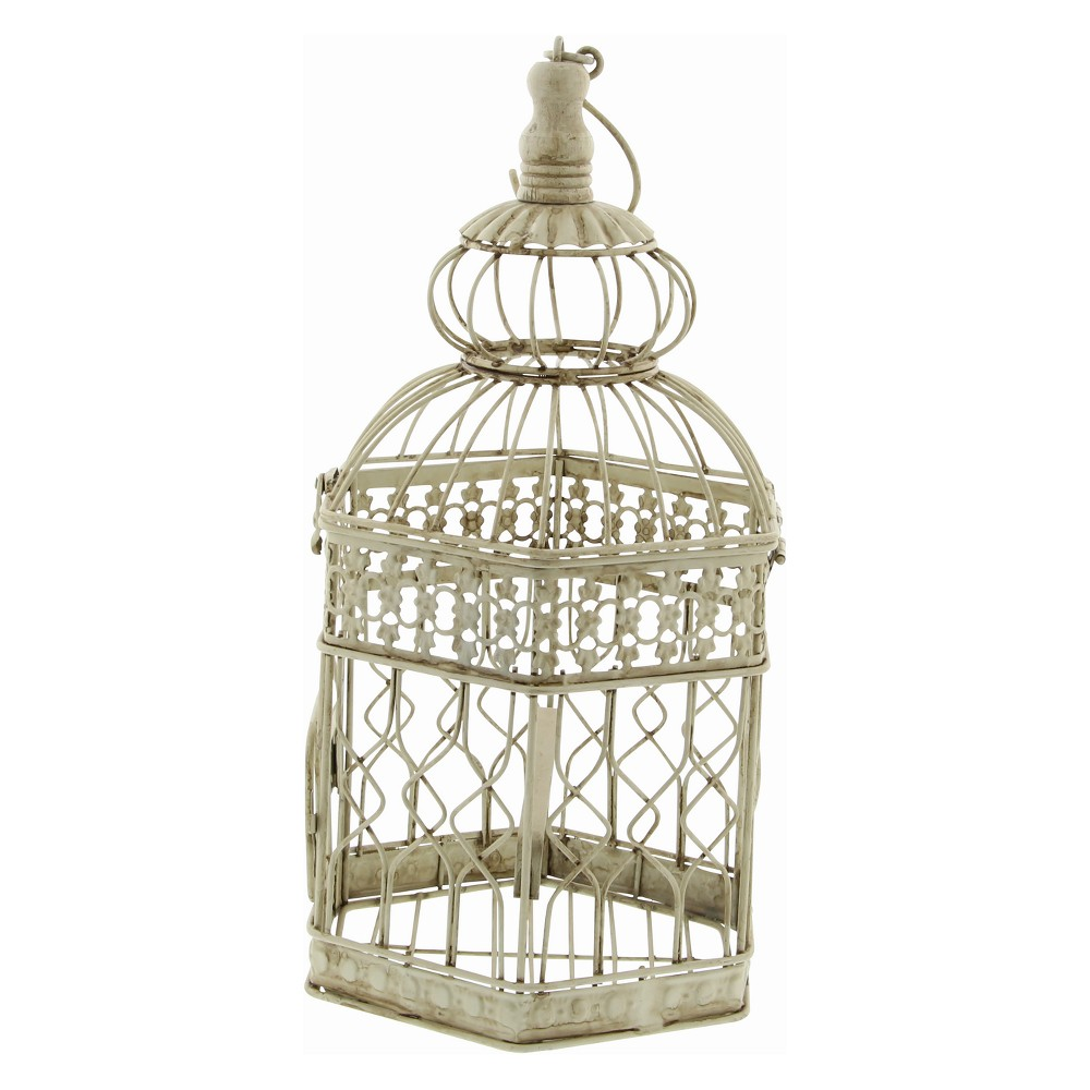 "Image of ""21""""H Iron Bird House - Ivory - Olivia & May, White"""