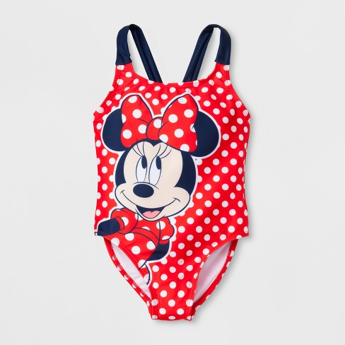 Girls' Minnie Mouse One Piece Swim Suit - Red - image 1 of 2