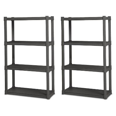 Sterilite 4 Shelf Durable Solid Gray Surface Shelving Unit, 2 Pack | 01643V01