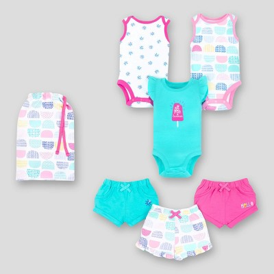 Lamaze Baby Girls' 6pc Organic Cotton Mix N Match Popsicle Top and Bottom Set - Pink/White/Aqua 18M
