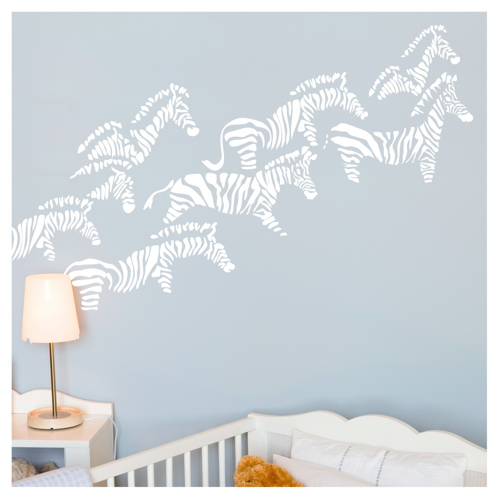 Image of Herd of Zebra Nursery Wall Decals - White