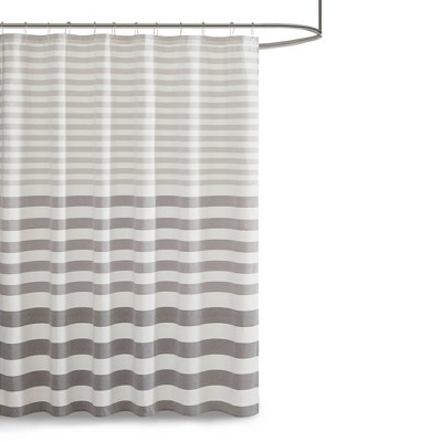 72 x72  Colette Yarn Dyed Woven Shower Curtain Gray