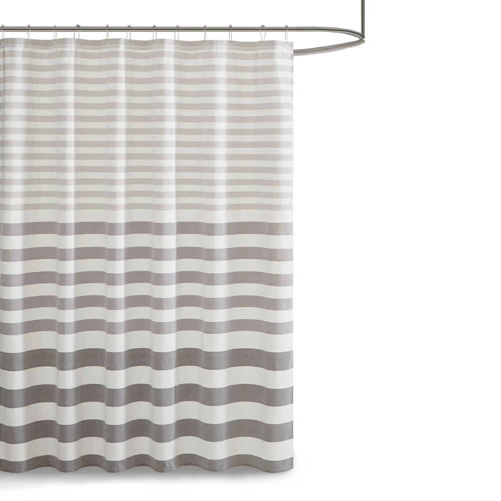 "Image of ""72""""x72"""" Colette Yarn Dyed Woven Shower Curtain Gray"""