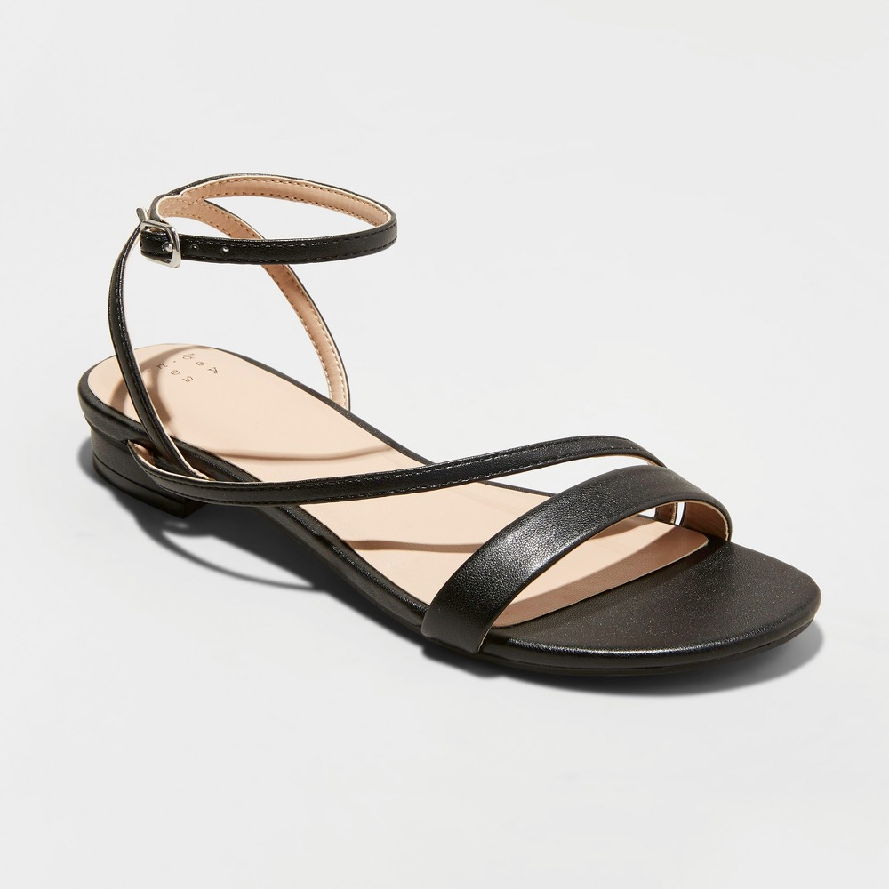 Women's Isma Barely There Ankle Strap Sandals - A New Day Black 10