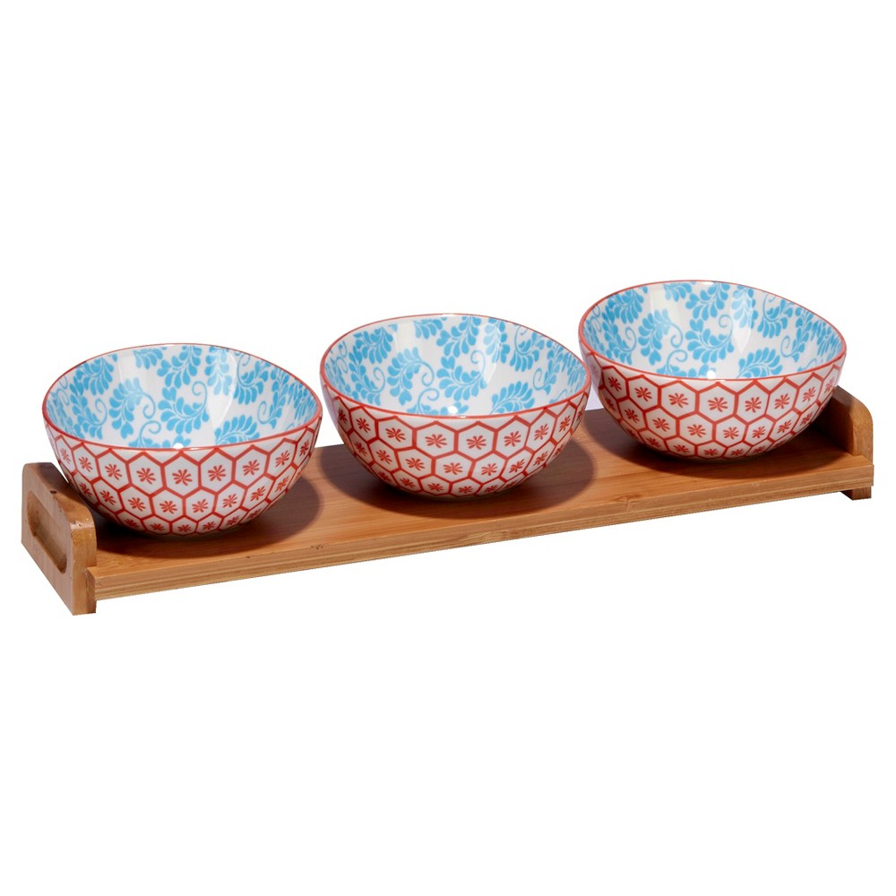 Certified International Chelsea Mix & Match Porcelain and Bamboo 4pc Serving Set Orange