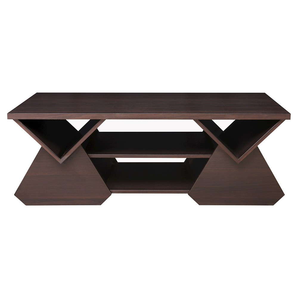 Katy Unique Geometric Open Shelves Coffee Table Espresso (Brown) - Homes: Inside + Out