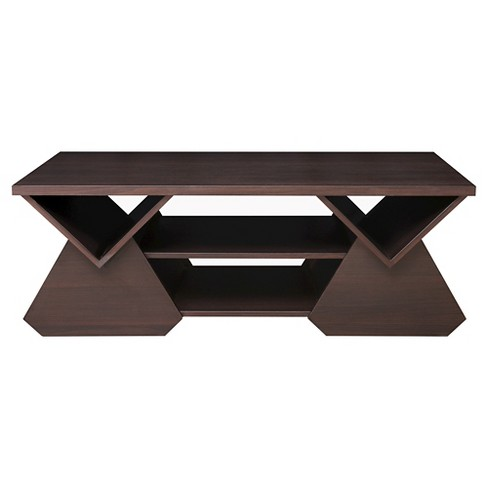 Katy Unique Geometric Open Shelves Coffee Table Espresso Homes Inside Out