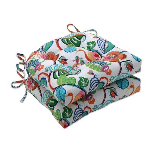 2pk Outdoor/Indoor Reversible Chair Pad Set Tropical Fete Multi Green - Pillow Perfect