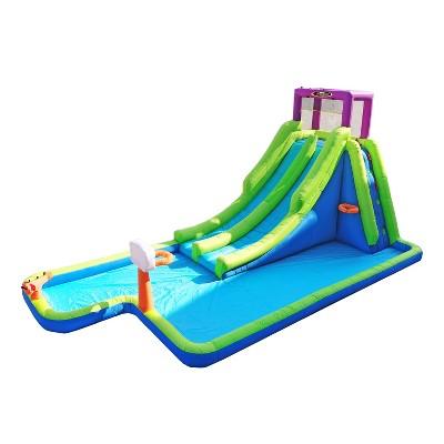 Magic Time International MTI 91451 Double River Backyard Inflatable Safety Mesh Bounce House & Water Park w/ 2 Slides Auto Dump Bucket & Soak Blaster