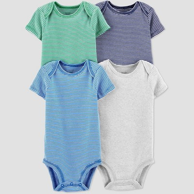 Baby Boys' 4pk Striped Bodysuit - Just One You® made by carter's Blue/White/Green Newborn