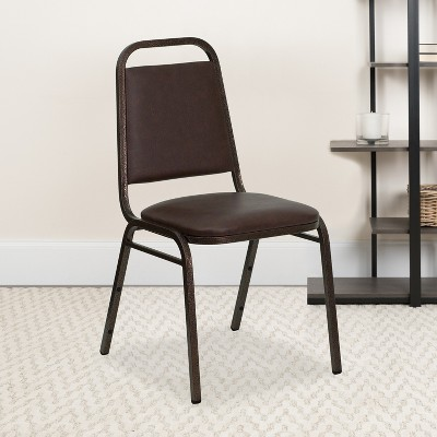 """Emma and Oliver Trapezoidal Back Stacking Banquet Dining Chair - 1.5"""" Thick Seat"""