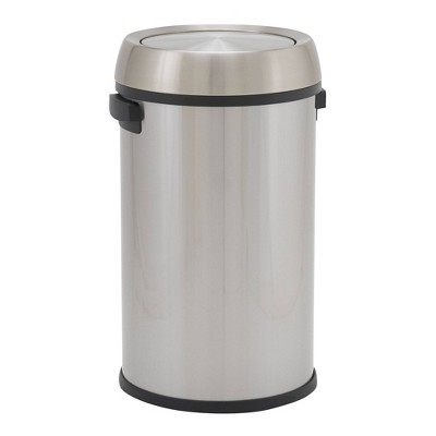 Household Essentials 65L Commercial Round Design Push Trend Trash Bin Stainless Steel