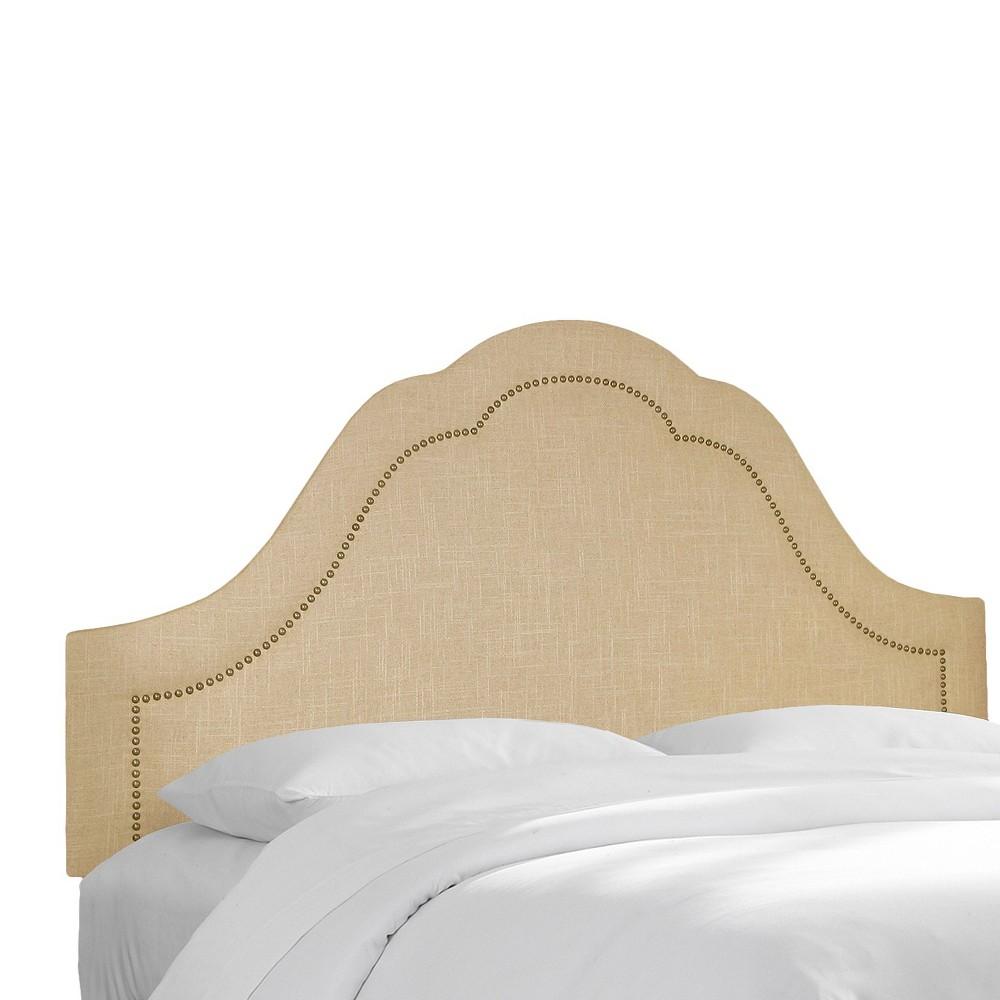 Skyline Custom Upholstered Arch Inset Nail Button Headboard - Queen - Skyline Furniture, Linen Sandstone